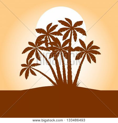 Illustration of Palm Trees. Vector Brown Picture.