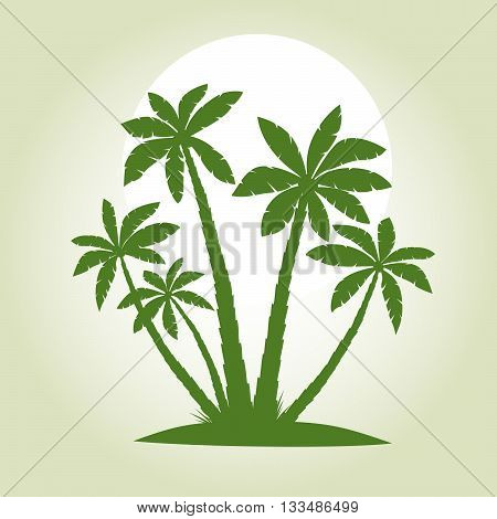 Illustration of Palm Trees. Vector Green Picture.