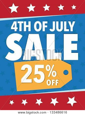 Holiday sale sign 4th of July - Save 25% poster
