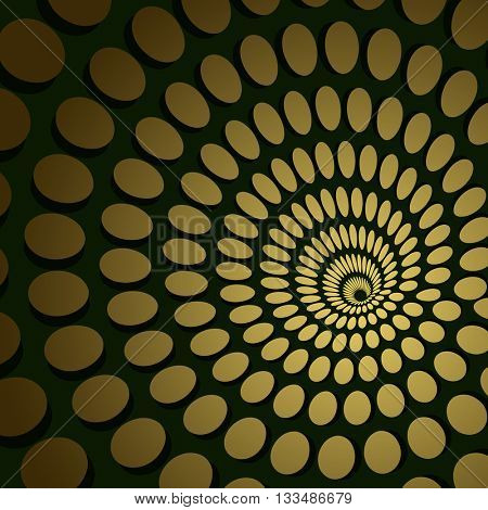 Abstract golden circle spiral vector background.