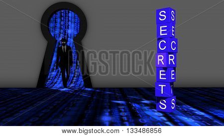 Elite hacker entering a room through a keyhole to steal secrets silhouette 3d illustration information security backdoor concept