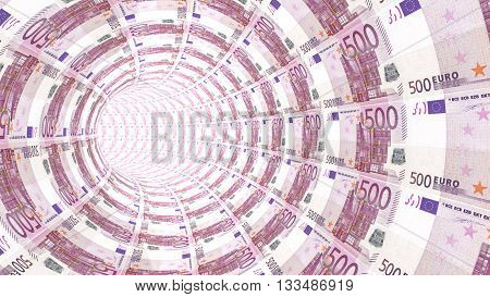 3D illustration tunnel towards a light textured with 500 euro bills