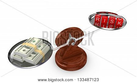 Balance with dollar on one and dice with the word risk on the other side 3D illustration risk management concept
