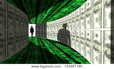 A silhouette of a hacker with a black hat in a suit enters a hallway with walls textured with dollar bills 3D illustration cybersecurity concept