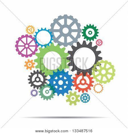 Color Sprockets and Background for presentation. Vector Illustration.