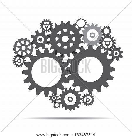 Grey Sprockets and Background for presentation. Vector Illustration.