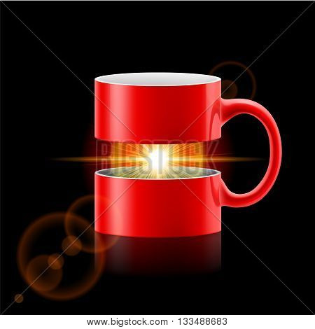 Red mug divided into two parts with sunshine between them.