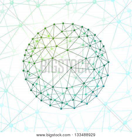 Green web envelopes sphere on web background