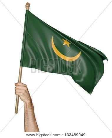Hand proudly waving the national flag of Mauritania, 3D rendering