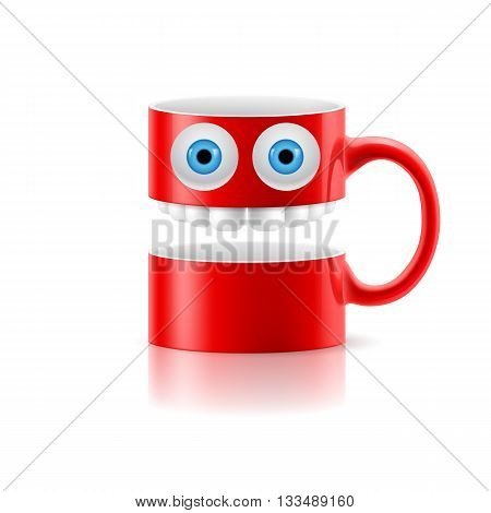 Red mug of two parts with teeth and a couple of blue eyes.