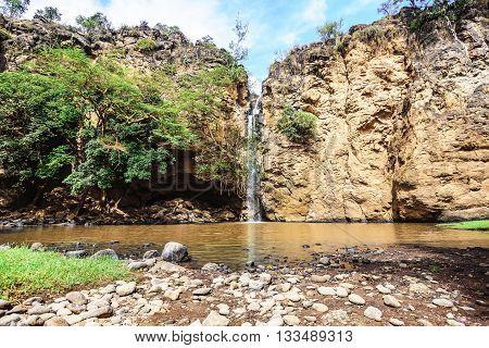 Waterfall in Masai Mara Park  in Kenya, Africa