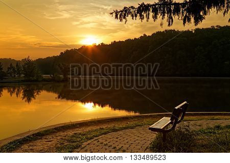 A beautiful sunrise at at Gifford Pinchot State Park in York County Pennsylvania USA.