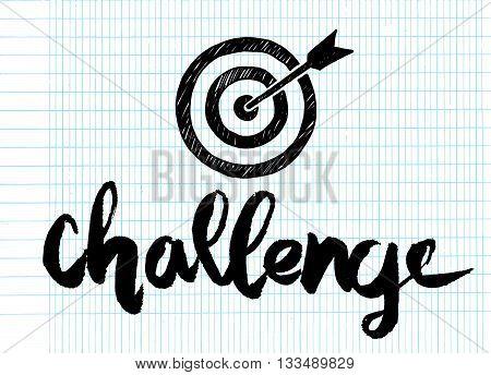 "Handwritten Word ""challenge "" Painted Brush Lettering,typographic Poster"
