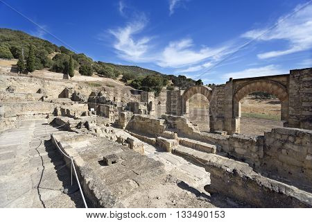 MEDINA AZAHARA, SPAIN - September  11, 2015: Ruins of the ramped street connecting the Great Portico to the Upper Terrace of Medina Azahara near Cordoba on September  11, 2015 in Medina Azahara, Spain