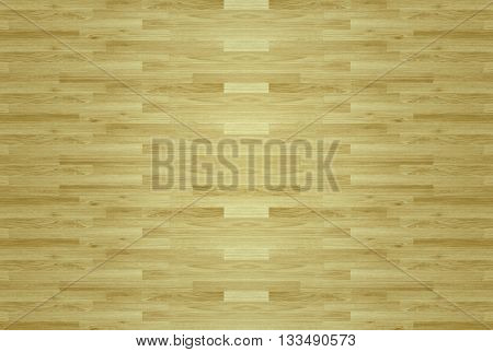 wood Hardwood maple basketball court floor viewed from above for design texture pattern and background.