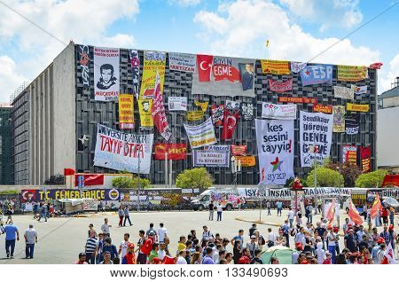 Istanbul Turkey - June 9 2013: It has started action against the construction of a shopping center instead of cutting trees in Gezi Park in Istanbul. A wave of demonstrations and civil unrest in Turkey began on 28 May