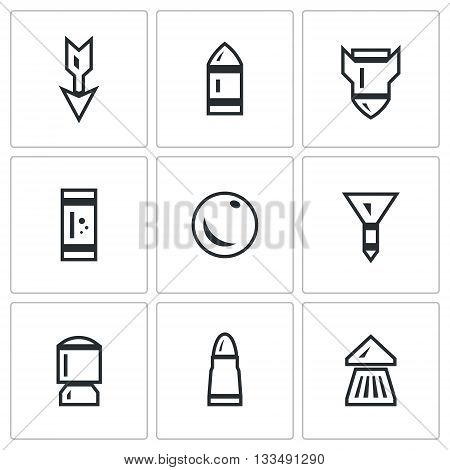 Striking element of small arms. Isolated symbols on a white background