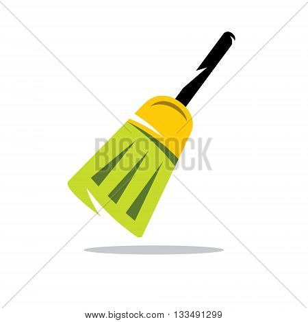 Tool for sweeping and cleaning the room. Isolated on a white background