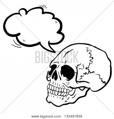 black and white another skull with speech bubble cartoon