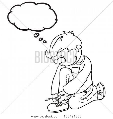 black and white boy with thought bubble tying a shoelace cartoon