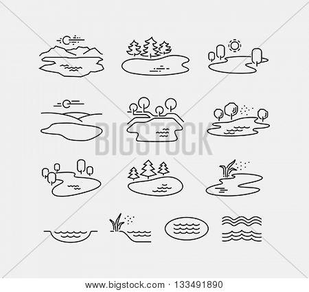 Nature Landscape Vector Icons