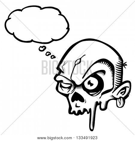 black and white zombie with thought bubble