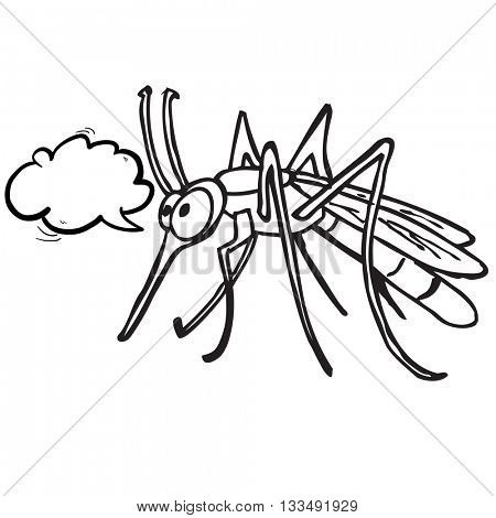 black and white mosquito with speech bubble cartoon