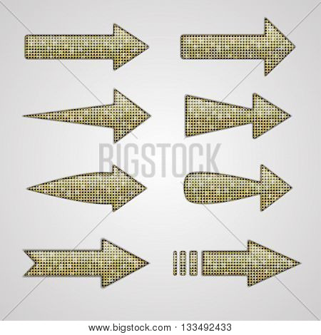 Vector silver arrows with elements of sequins. Abstract arrows. Direction.