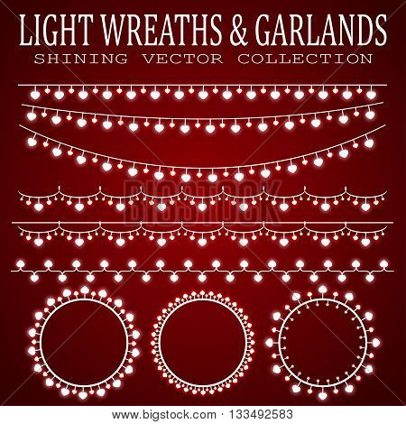 Glowing wreaths and garlands. Collection garlands with light bulbs in the form of hearts.