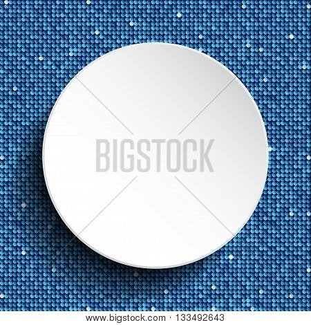 Vector white circle with blue sequins background. Eps 10.