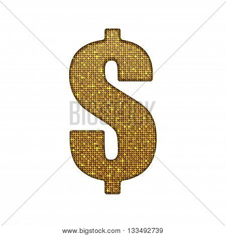 Vector element. Dollar sign in the form of sequins. Currency. Eps 10.