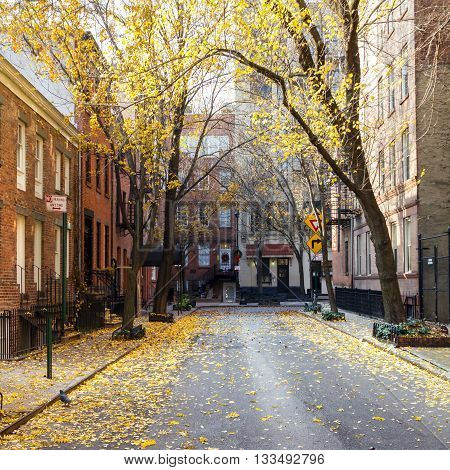New York City fall street scene in the historic Greenwich Village neighborhood of Manhattan