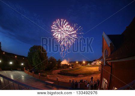 Fireworks at wedding night. blue sky. night