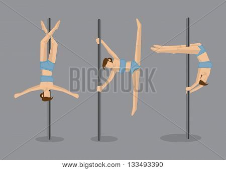 Set of three vector illustration of pole dancer characters performing gravity defying stunt on pole isolated on grey background.