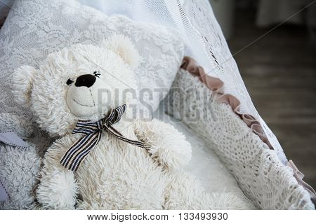 Children's Cot With A Teddy Bear
