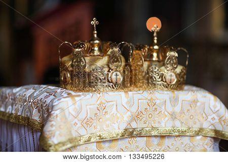 Elegant wedding crown or tiara preparing for marriage in church.