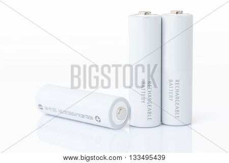 Aa Batteries Over White