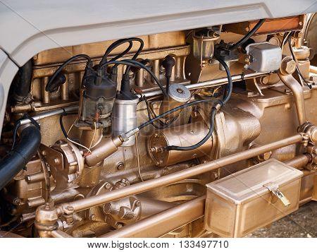 Details of an old engine motor background transportation