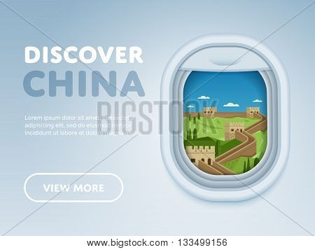 Discover China. Traveling the world by plane. Tourism and vacation theme. Attraction of airplane window. Modern flat vector design banner.