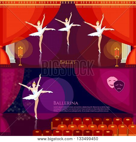 Ballet banners ballerinas dancing on theater stage professional ballet vector illustration