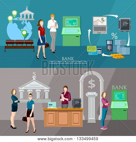 Customers in the bank banner interior bank business people vector illustration