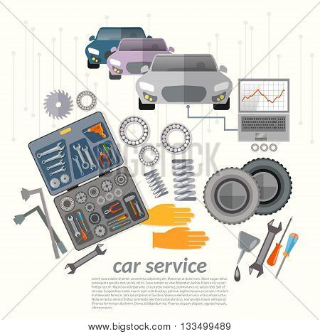 Car service mechanic tools vehicle diagnostics replacement tires change oil vector illustration