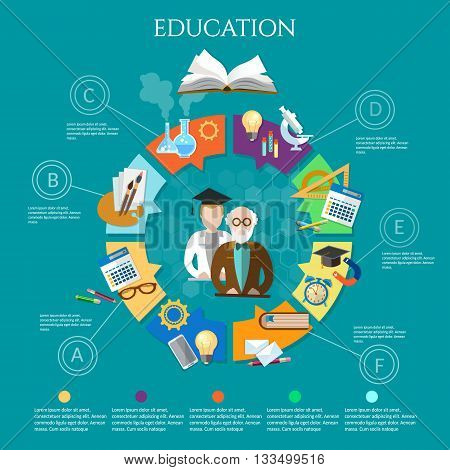 Education infographic professor and student learning open book vector illustration