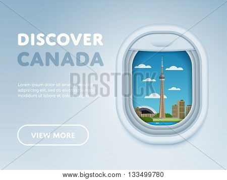 Discover Canada. Traveling the world by plane. Tourism and vacation theme. Attraction of airplane window. Modern flat vector design banner.