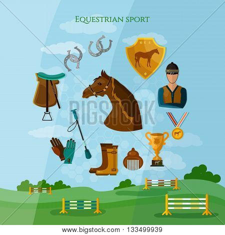 Equestrian sport horseback riding competition professional jockey vector illustration