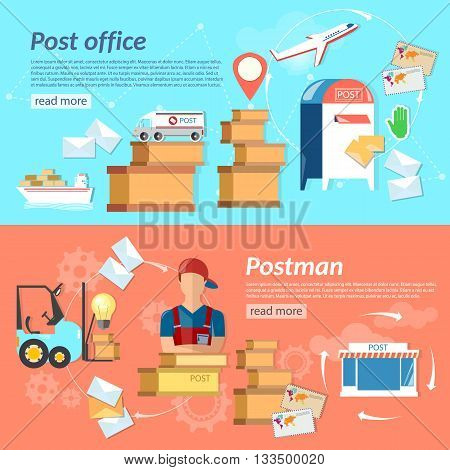 Post banners mail delivery mail letters and parcels shipping and handling vector illustration