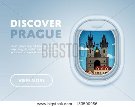 Discover Prague. Traveling the world by plane. Tourism and vacation theme. Modern flat design banner. Attraction of airplane window.