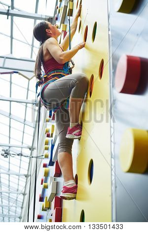 A young woman in safety harness is climbing up on the wall in rock-climbing center