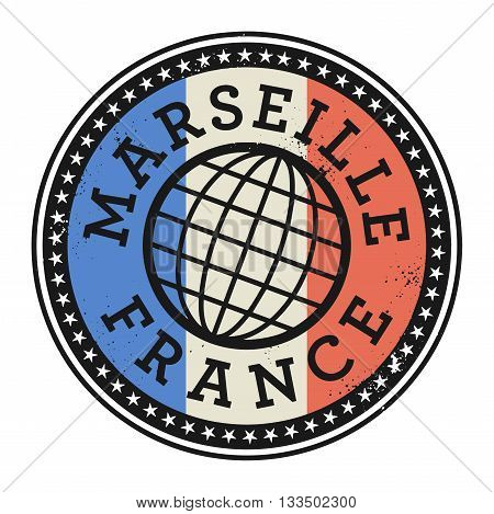 Grunge rubber stamp with the text Marseille, France, vector illustration