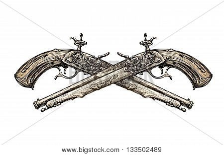 Crossed vintage Pistols. Hand drawn sketch ancient weapon. Duel. Vector illustration